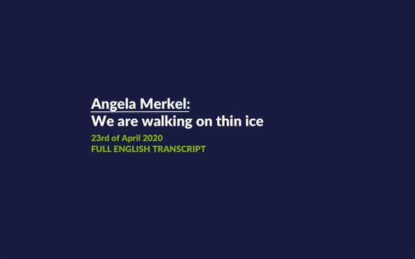 Angela Merkel: We are walking on thin ice